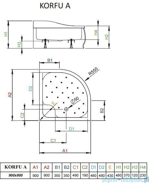 Radaway Brodzik półokrągły Korfu A 90x90 4S99400-03