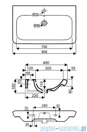 Koło Life! umywalka reflex 80cm otworem na baterie biała M21180900