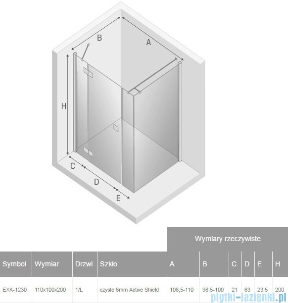 New Trendy Reflexa Plus 110x100x200 cm kabina prostokątna lewa przejrzyste EXK-1230