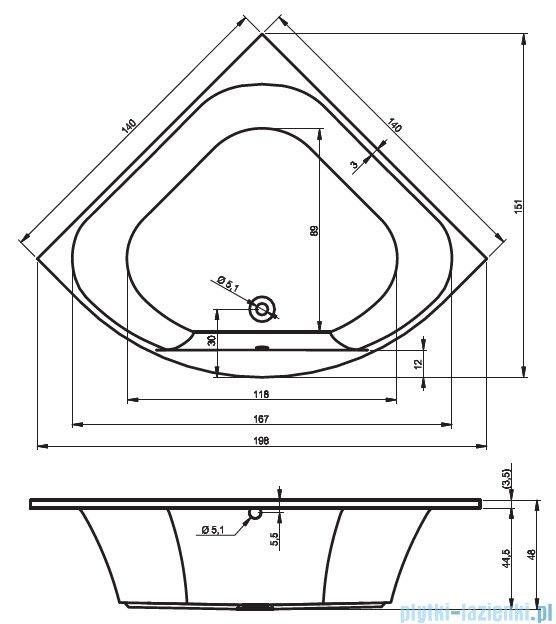 Riho Atlanta wanna symetryczna 140x140 z hydromasażem TOP Hydro 6+4+2/Aero19 BB70T5