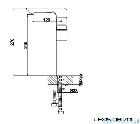 Kohlman Lexis bateria umywalkowa-wersja wydłużona QB170L
