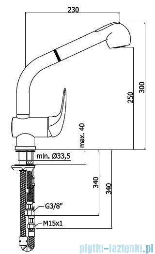 Paffoni  Bateria kuchenna z wyciąganą wylewką DUEMILA chrom DU185CR