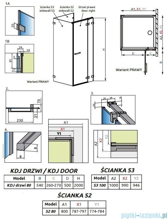 Radaway Euphoria KDJ P Kabina przyścienna 80x100x80 prawa szkło przejrzyste 383043-01R/383031-01/383036-01