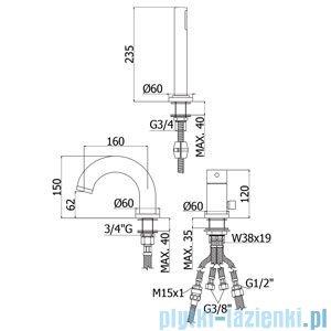 Paffoni Bateria wannowa 3-elementowa Stick chrom mat SK040LMC