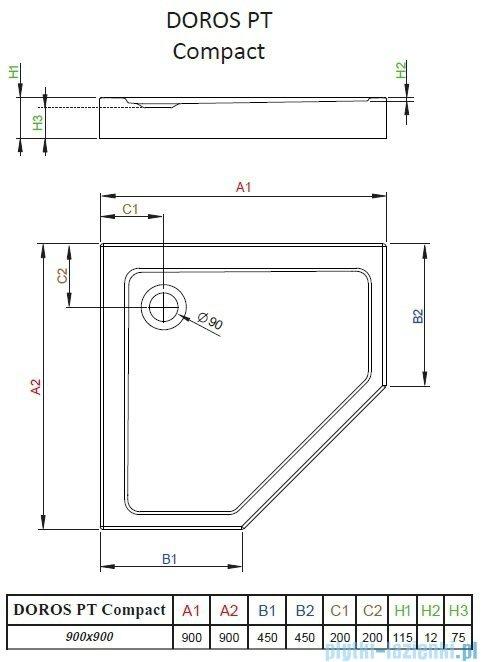 Radaway Doros PT Compact brodzik pięciokątny 90x90x11,5cm SDRPTP9090-05