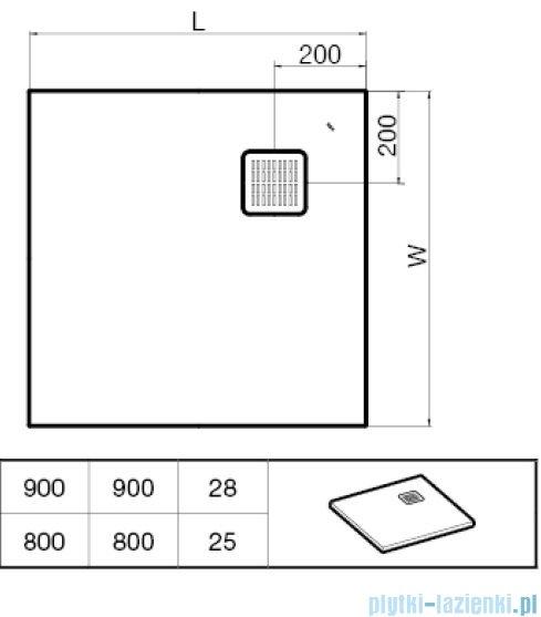 Roca Terran 90x90cm brodzik kwadratowy konglomeratowy off white AP0338438401090