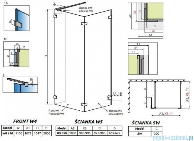 Radaway Euphoria Walk-in IV kabina 110x100cm szkło przejrzyste 383143-01-01/383152-01-01/383160-01-01