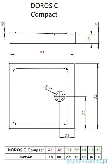 Radaway Doros C Compact brodzik kwadratowy 90x90cm SDRC9090-05