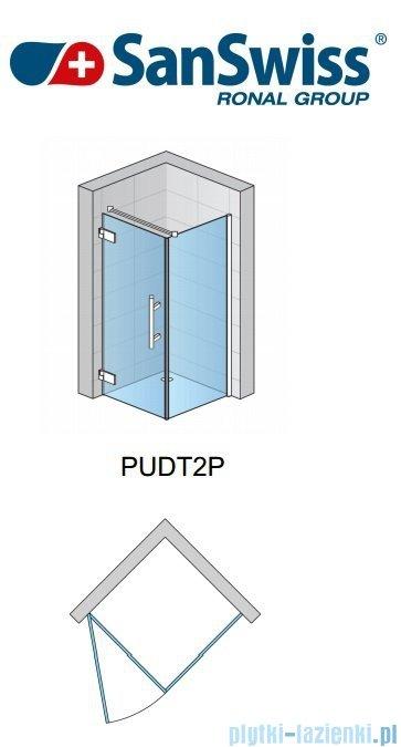 SanSwiss Pur PUDT2P Ścianka boczna 90cm profil chrom szkło przejrzyste PUDT2P0901007