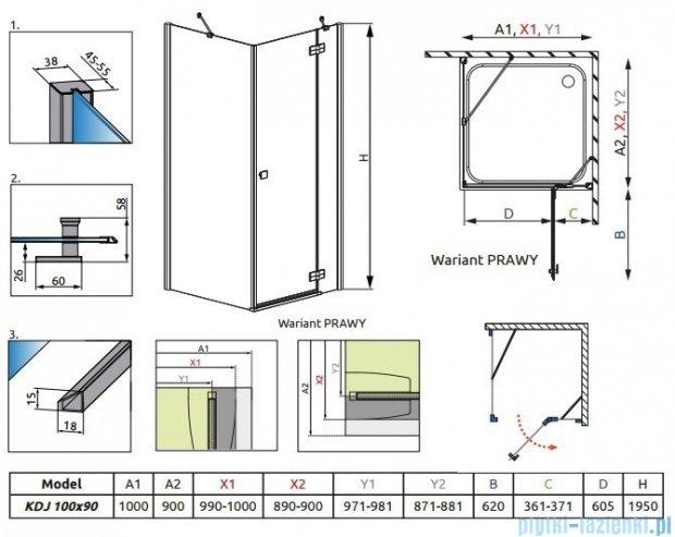 Radaway Almatea Kdj Gold kabina prysznicowa 100x90 prawa szkło grafitowe 32143-09-05NR