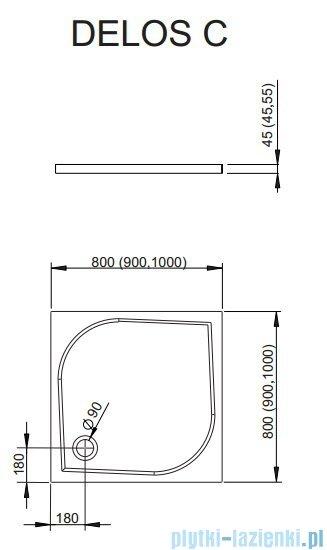 Radaway Eos II DWJ Drzwi prysznicowe 90x195 prawe szkło przejrzyste + brodzik Delos C + syfon 3799441-01R/SDC0909-01