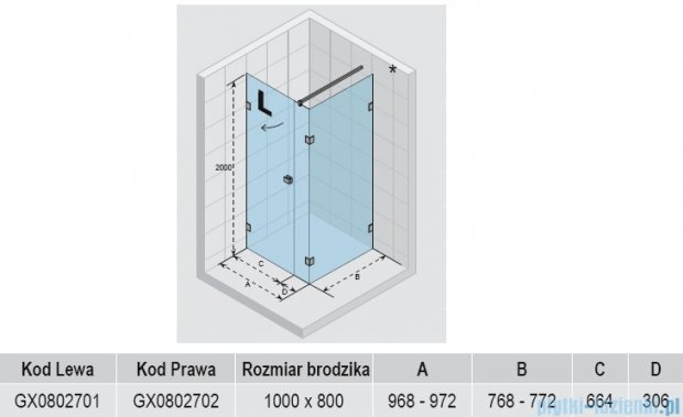 Riho Kabina prysznicowa Scandic Lift M204 100x80x200 cm PRAWA GX0802702