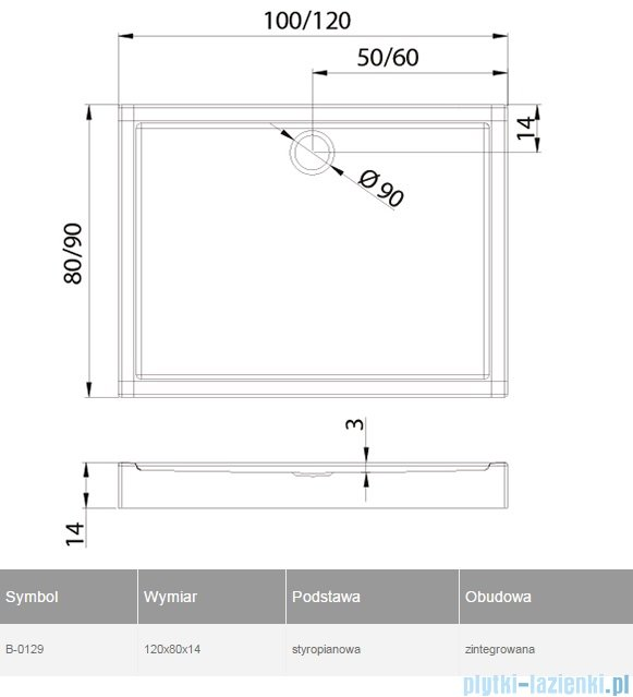 New Trendy Columbus brodzik prostokątny zintegrowany 120x80 B-0129