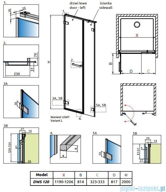 Radaway Arta Dws drzwi wnękowe 120cm lewe szkło przejrzyste 386828-03-01L/386091-03-01L