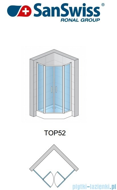 SanSwiss Top-Line Pięciokątna kabina prysznicowa TOP52 z drzwiami otwieranymi 90x90cm TOP5270905022