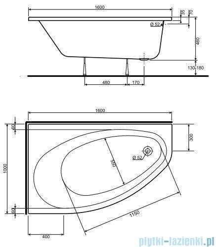 Koło Elipso Wanna asymetryczna 160x100cm Lewa XWA0661