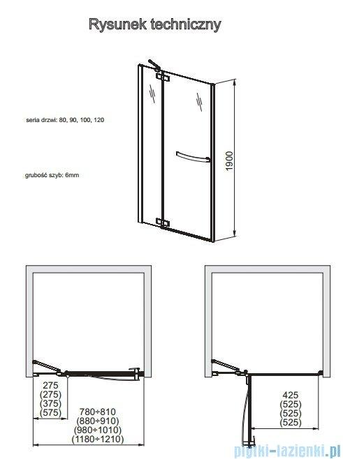 Aquaform HD Collection drzwi uchylne do wnęki lewe 90cm przejrzyste 103-09393