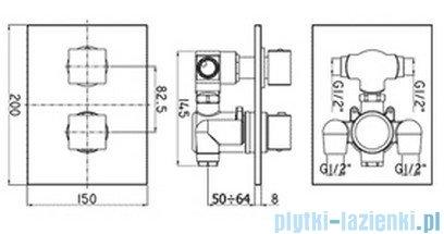 Paffoni Bateria natryskowa podtynkowa termostatyczna Level Termostaty chrom LEQ514CR