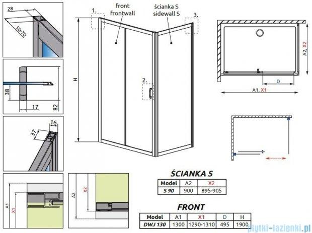 Radaway Premium Plus DWJ+S kabina prysznicowa 130x90cm szkło fabric 33333-01-06N/33403-01-06N