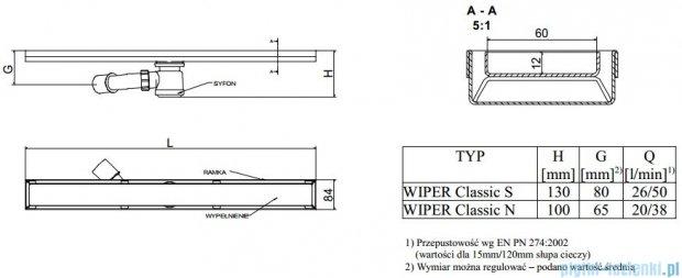 Wiper Odpływ liniowy Classic Pure 100cm bez kołnierza poler PU1000PCS100