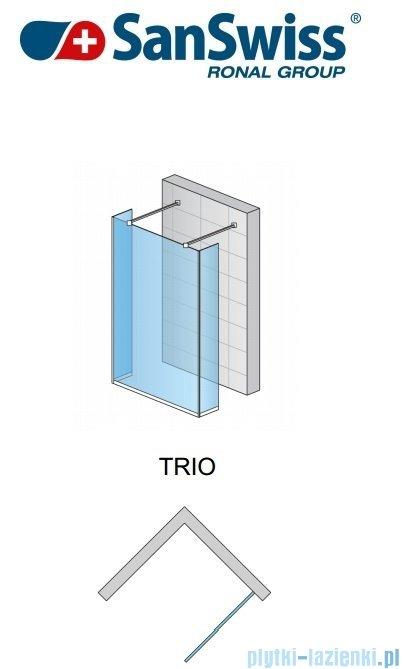 SanSwiss Pur Trio Ścianka stała 90-160cm profil chrom szkło Pas satynowy TRIOSM21051