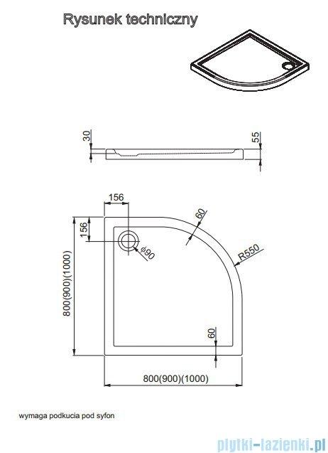 Aquaform Vico brodzik półokrągły superniski R550 80x80cm 200-08001