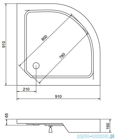 Sea Horse Sigma zestaw kabina natryskowa półokrągła, 90x90 przejrzyste + brodzik BKZ2/1/R