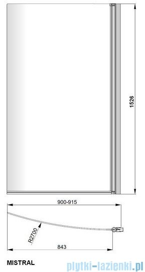 Poolspa Parawan nawannowy gięty Mistral-N (lewy/prawy) 90cm PI4000097