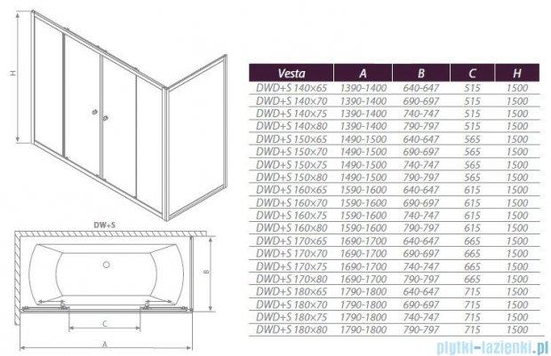 Radaway Ścianka Vesta S75 szkło fabric 204075-06
