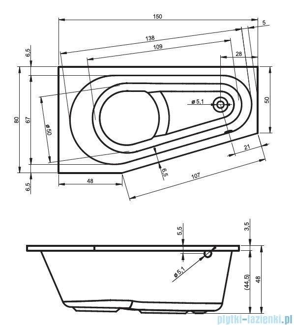 Riho Delta wanna asymetryczna prawa 150x80 z hydromasażem Hit Hydro 6+4+2/Aero11 BB80H3