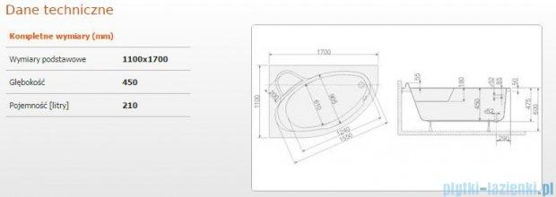 Sanplast Comfort Wanna asymetryczna lewa+stelaż WAL/CO 170x110+ST6 610-060-0440-01-000