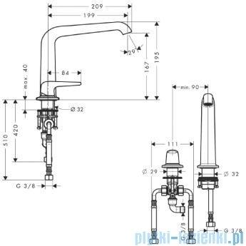 Hansgrohe Axor Bouroullec 2-otworowa bateria umywalkowa 195mm DN15 19144000