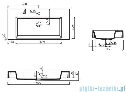 Marmorin Teo 900 umywalka wisząca 90x45 bez otworu przelewowego z otworem na baterie biała 641090020011
