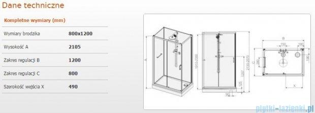 Sanplast Kabina czterościenna kompletna kpl-KCD2/CLII-80x120 80x120x210 cm przejrzysta 602-011-0290-01-4B1
