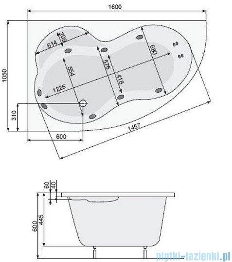 Poolspa Wanna asymetryczna MISTRAL 160x105 lewa + hydromasaż Smart 1 PHA3X10ST1C0000