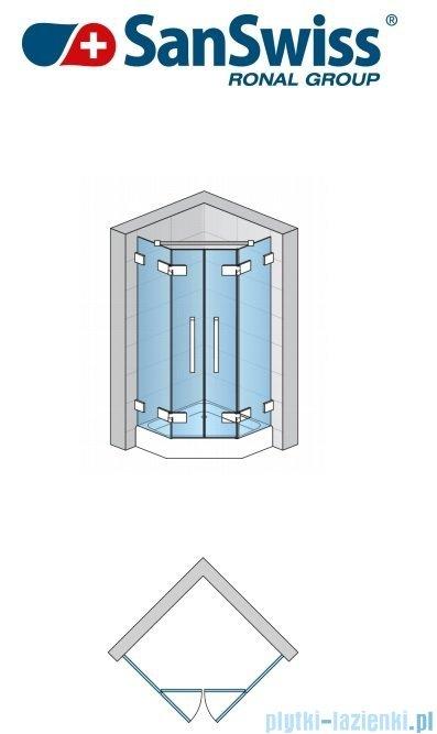 SanSwiss Pur PUR52 Drzwi 2-częściowe do kabiny 5-kątnej 45-100cm profil chrom szkło Master Carre PUR52SM11030