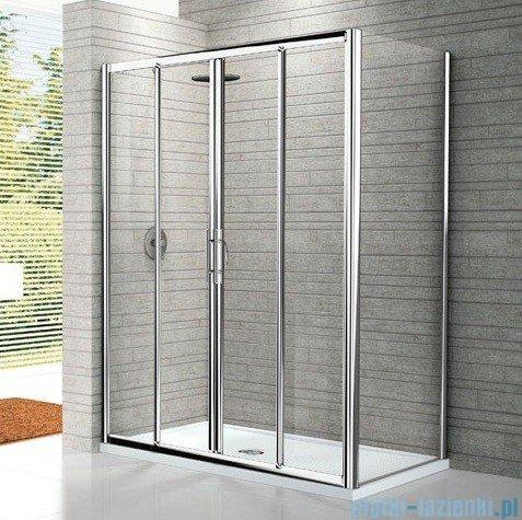 Novellini Drzwi prysznicowe przesuwne LUNES 2A 176 cm szkło przejrzyste profil srebrny LUNES2A176-1B