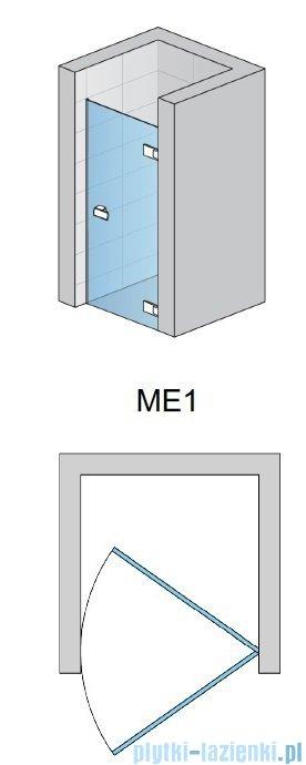 SanSwiss Melia ME1 drzwi prawe wymiary specjalne do 100cm efekt lustrzany ME1DSM11053
