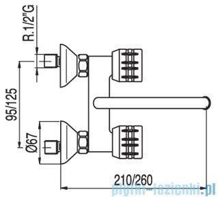 Tres Ese-23 Bateria zlewozmywakowa ścienna kolor chrom 1.23.214