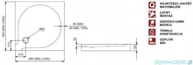 Aquaform Delta brodzik kwadratowy płytki ze zintegrowaną obudową  90x90x14,5cm 06911