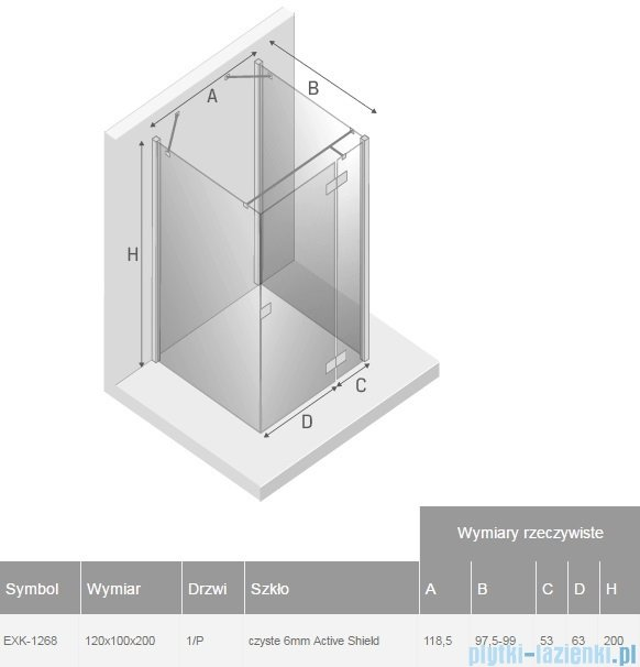New Trendy Reflexa 120x100x200 cm kabina trójścienna prawa przejrzyste EXK-1268