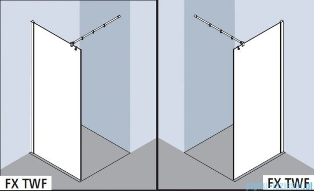 Kermi Filia Xp Ściana Walk-in Wall, stabilizator 90 stopni, szkło przezroczyste, profile srebrne 75x200cm FXTWF07520VAK