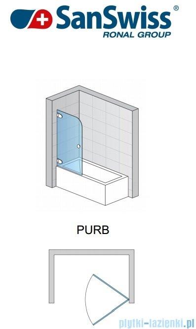 SanSwiss Pur PURB Parawan nawannowy 1-częściowy 85cm profil chrom szkło przezroczyste Lewy PURBG08501007