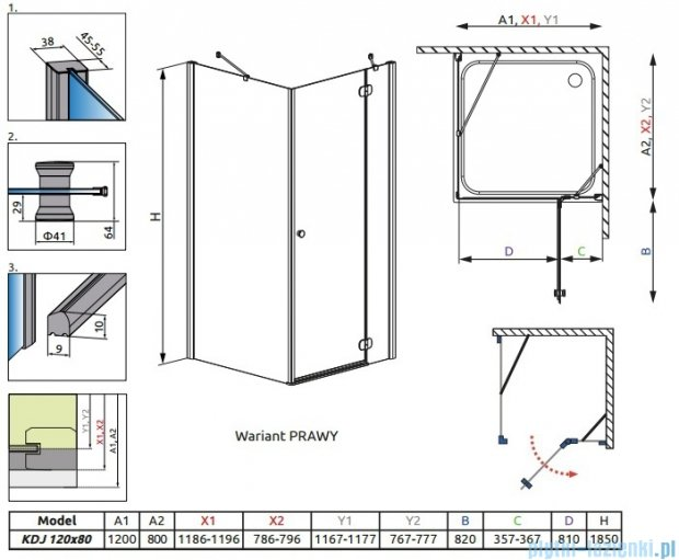Radaway Torrenta Kdj kabina 120x80 prawa szkło przejrzyste + Brodzik Doros D + syfon 32232-01-01NR