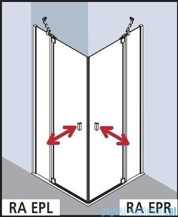 Kermi Raya Wejście narożne, 1 połowa, prawa, szkło przezroczyste z KermiClean, profile srebrne 75x200 RAEPR07520VPK