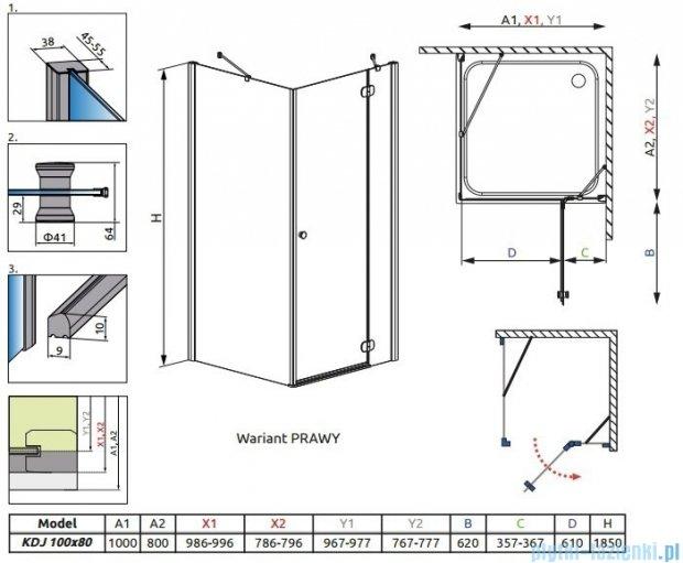 Radaway Torrenta Kdj kabina 100x80 prawa szkło grafitowe + Brodzik Doros D + syfon 32242-01-05NR