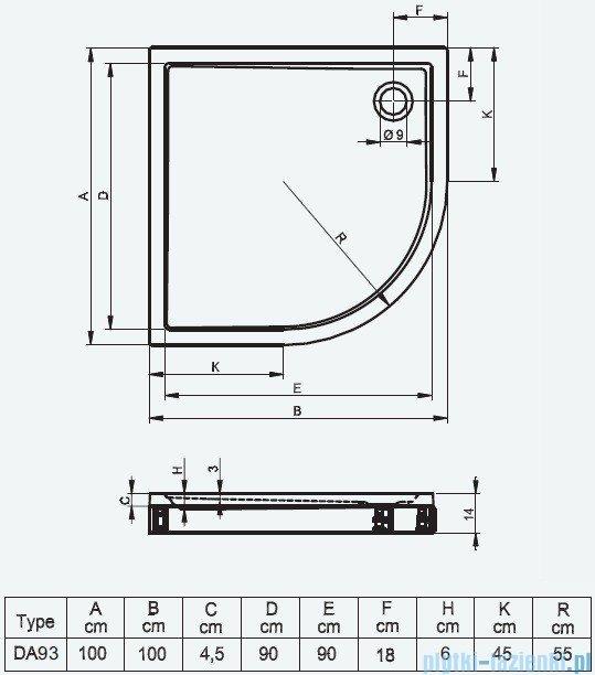 Riho Brodzik półokrągły 285 100x100x14 DA93 + nóżki + panel
