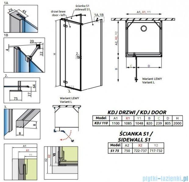 Radaway Fuenta New Kdj+S kabina 75x110x75cm lewa szkło przejrzyste 384023-01-01L/384049-01-01/384049-01-01