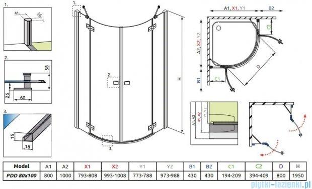 Radaway Almatea PDD E GOLD kabina półokrągła 100x80 szkło przejrzyste 30542-09-01N
