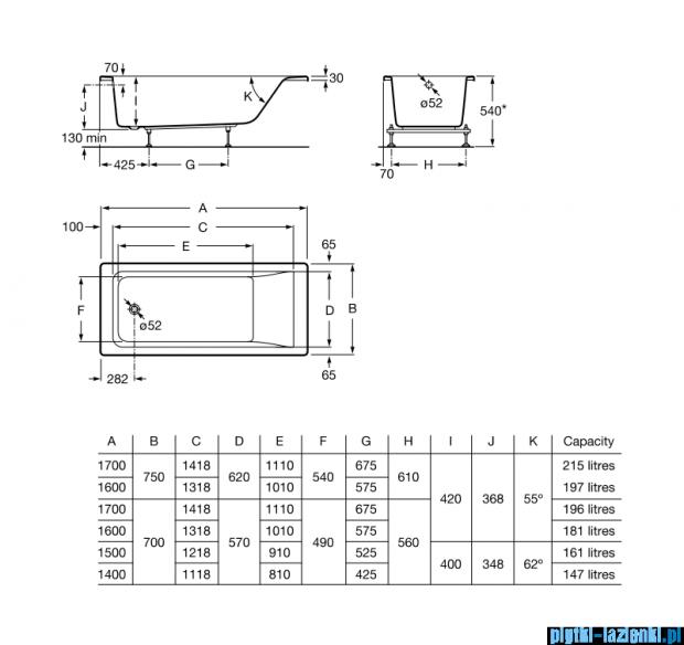 Roca Easy wanna 160x70cm z hydromasażem Smart Air Plus A24T316000